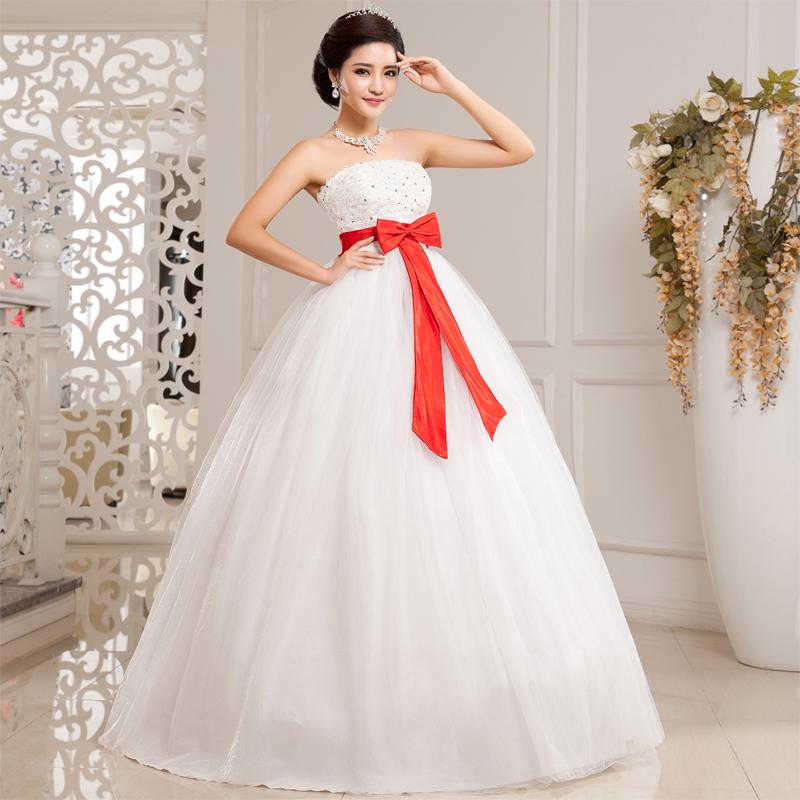 9f34f0003b3 Дешевое свадебное платье с красным бантом ...