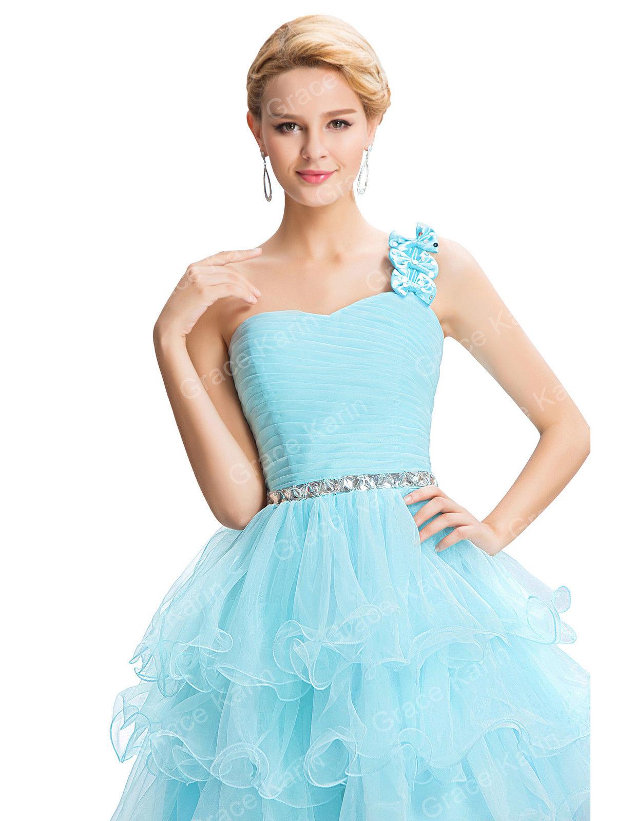 3ea3d7e0f6d Нежно-голубое платье с лямочкой через плечо для выпускного бала ...